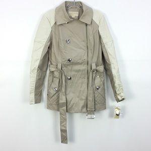 NWT MICHAEL Michael Kors SND/WHT Faux Trim Jacket
